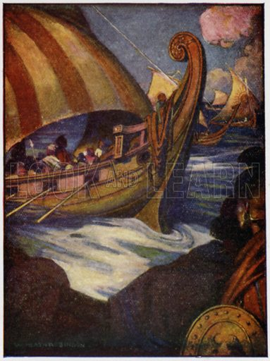 Many were the heroes who sailed away from Greece. Illustration for Stories from The Iliad or The Siege of Troy told by Jeanie Lang (Jack, c 1918).