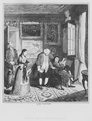 Hilda's visit to Abel Beechcroft. Illustration for The Miser's Daughter by William Harrison Ainsworth (3rd edn, Parry, 1848).
