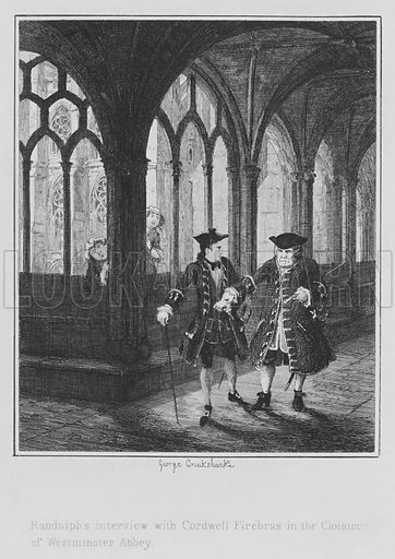 Randulph's interview with Cordwell Firebras in the Cloisters of Westminster Abbey. Illustration for The Miser's Daughter by William Harrison Ainsworth (3rd edn, Parry, 1848).