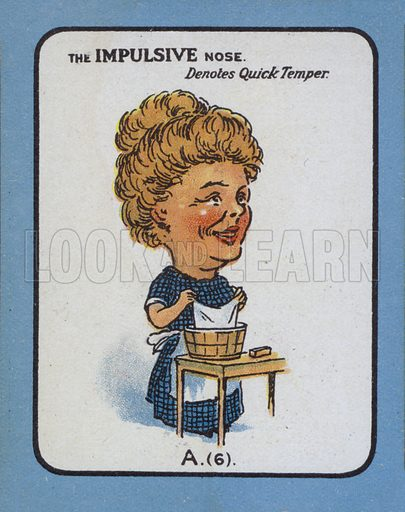The Impulsive Nose Denotes Quick Temper. Illustration for one of a set of Nose Game cards, early 20th century.