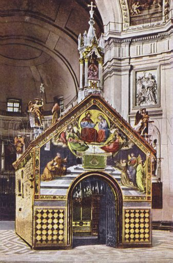 Assisi, S Maria degli Angeli, Cappella della Porziuncola, The Chapel of the Porziuncola in St Mary of the Angels. Illustration for souvenir booklet on Assisi, early 20th century.