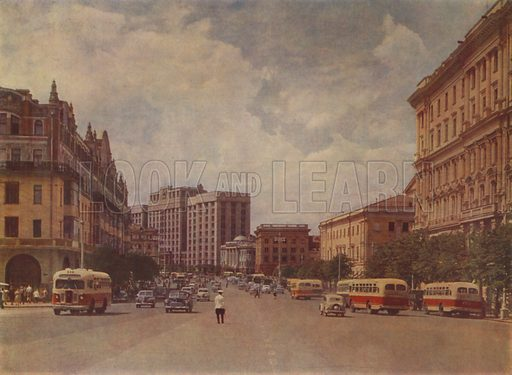 "Theatralny Passage, the ""Metropol"" Hotel (left). Illustration for large Russian-produced book of photographs of Moscow, 1957."