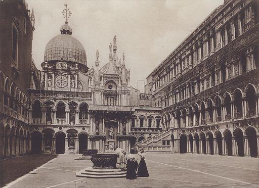 Cortile Palazzo Ducale. Illustration for Venezia 36 Vedute, c 1900.
