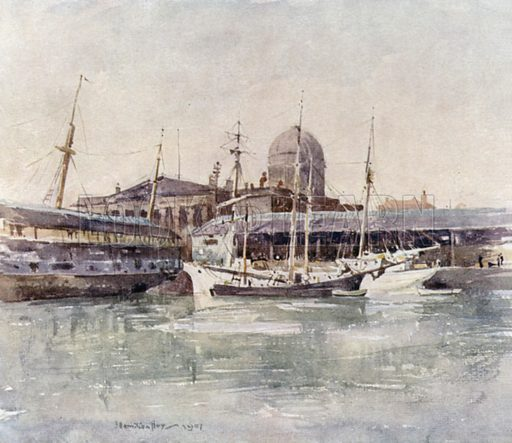 Custom House from the Salthouse Dock. Illustration for Liverpool, painted by J Hamilton Hay and described by Dixon Scott (A&C Black, 1907).