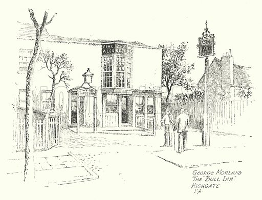 "George Morland, the ""Bull Inn"", Highgate. Illustration for Famous Houses and Literary Shrines of London by A St John Adcock with illustrations by Frederick Adcock (Dent, 1912)."