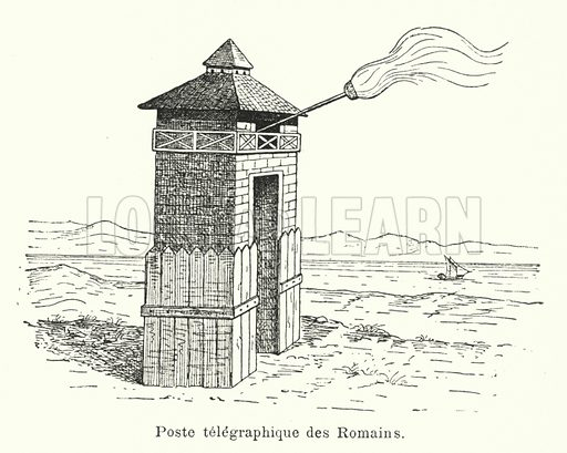 Poste telegraphique des Romains. Illustration for Les Grands Travaux Du Siecle by JB Dumont (Hachette, 1891).