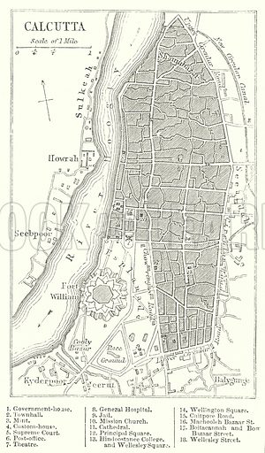 Calcutta. Illustration for The Imperial Gazetteer, A General Dictionary of Geography (Blackie, c 1855).