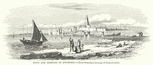 Town and Temples of Dwaraka. Illustration for The Imperial Gazetteer, A General Dictionary of Geography (Blackie, c 1855).