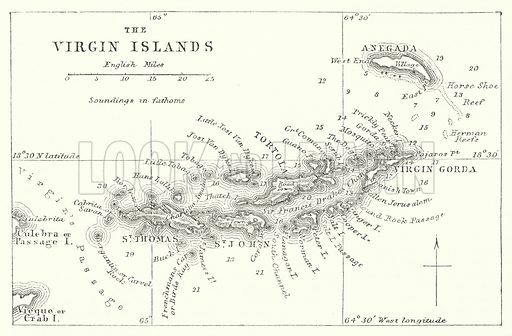 The Virgin Islands. Illustration for The Imperial Gazetteer, A General Dictionary of Geography (Blackie, c 1855).