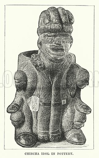 Chibca Idol in Pottery. Illustration for Primitive Religions by GT Battany (Ward Lock, 1891).