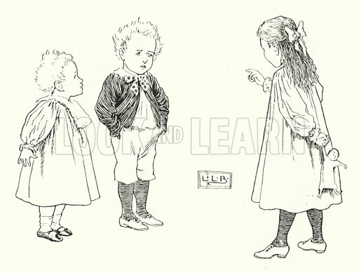 What are little boys made of, made of; what are little boys made of? Illustration for The Nursery Rhyme Book edited by Andrew Lang, illustrated by L Leslie Brooke (Frederick Warne, 1897).