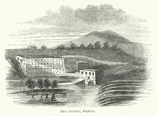 Old Bridge, Bilbao. Illustration for The Illustrated Universal Gazetteer edited by William Francis Ainsworth (John Maxwell, 1863).
