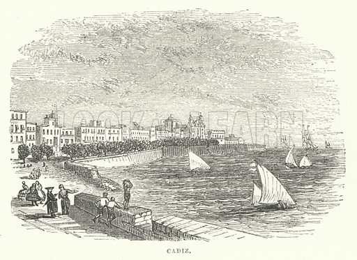 Cadiz. Illustration for The Illustrated Universal Gazetteer edited by William Francis Ainsworth (John Maxwell, 1863).