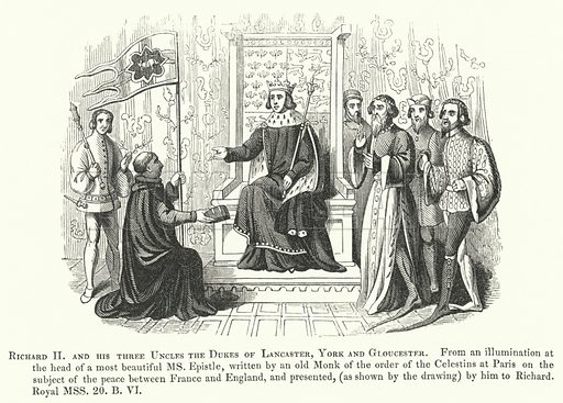Richard II and his three Uncles the Dukes of Lancaster, York and Gloucester. Illustration for Chronicles of England, France, Spain etc by Sir John Froissart (William Smith, 1839).