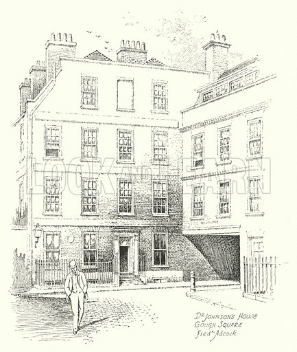 Dr Johnson's House, Gough Square. Illustration for Famous Houses and Literary Shrines of London by A St John Adcock with illustrations by Frederick Adcock (Dent, 1912).