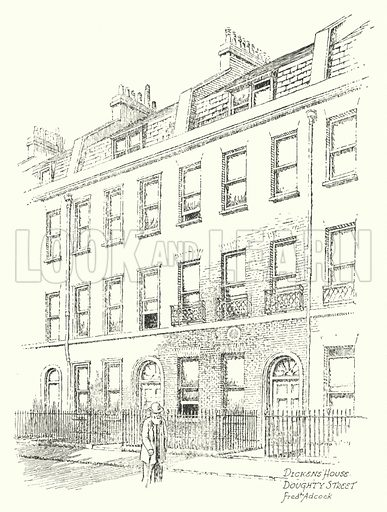 Dickens' House, Doughty Street. Illustration for Famous Houses and Literary Shrines of London by A St John Adcock with illustrations by Frederick Adcock (Dent, 1912).