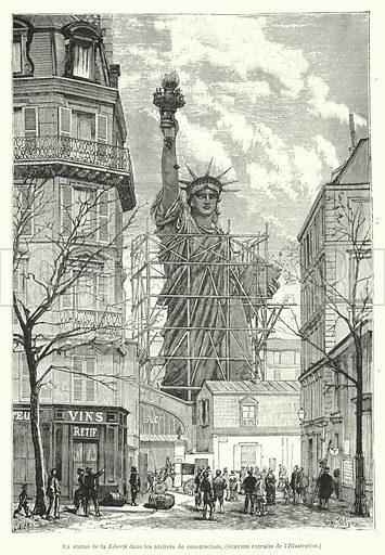 La statue de la Liberte dans les ateliers de construction. Illustration for Les Grands Travaux Du Siecle by JB Dumont (Hachette, 1891).