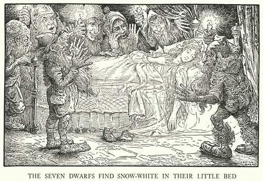 The Seven Dwarfs find Snow-White in their little bed. Illustration for Grimm's Fairy Tales by the Brothers Grimm with illustrations by Louis Rhead (Harpers, 1917).