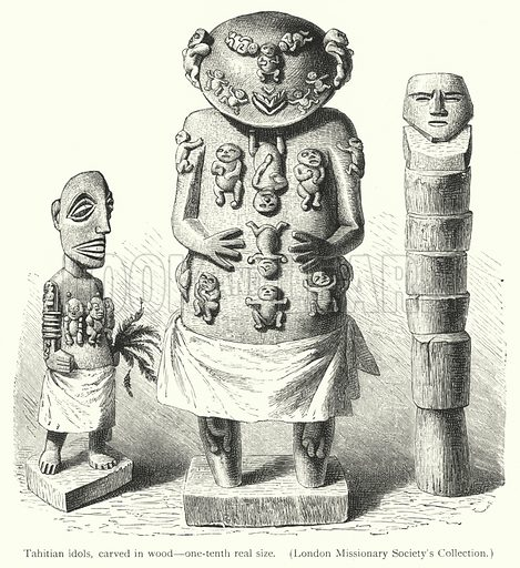 Tahitian idols, carved in wood, one-tenth real size. Illustration for The History of Mankind by Friedrich Ratzel (Macmillan, 1896).