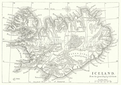 Iceland. Illustration for The Imperial Gazetteer, A General Dictionary of Geography (Blackie, c 1855).