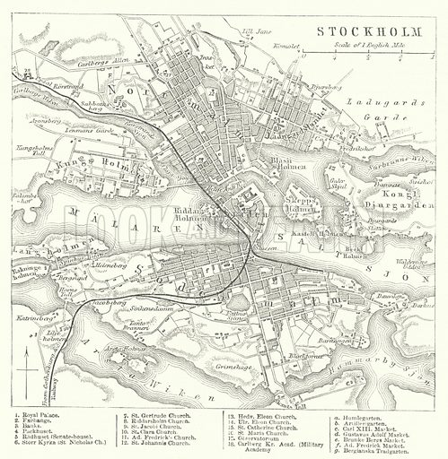 Stockholm. Illustration for The Imperial Gazetteer, A General Dictionary of Geography (Blackie, c 1855).