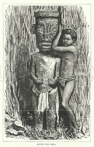 South Sea Idol. Illustration for Primitive Religions by G T Battany (Ward Lock, 1891).