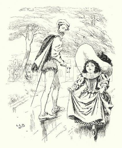 As I was going up Pippen-hill, Pippen-hill was dirty. Illustration for The Nursery Rhyme Book edited by Andrew Lang, illustrated by L Leslie Brooke (Frederick Warne, 1897).