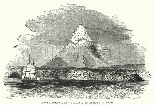 Mount Egmont, New Zealand, an extinct volcano. Illustration for The Universal Instructor (Ward Lock, c 1880).