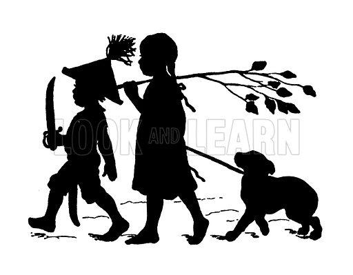 Silhouette by Paul Konewka. Illustration for Kinder und Tiere Schattenbilder by Paul Konewka (Callwey, 1922).