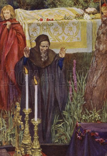Elaine. So those two brethren from the chariot took, / And on the black decks laid her in her bed. Illustration for Idylls Of The King by Alfred Lord Tennyson (Hodder and Stoughton, c 1910).