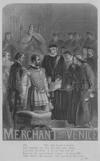 The Merchant Of Venice. Illustration for The Dramatic Works of William Shakespeare edited by Robert Inglis (Gall and Inglis, c 1871).