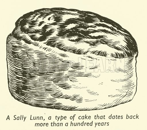 A Sally Lunn, a type of cake that dates back more than a hundred years.  Illustration for Everybody's Enquire Within (Amalgamated Press, c 1937-38).