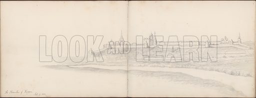 "The Kremlin of ""Karyan"", 9 September 1852.  Illustration from a sketchbook containing drawings by Oswald A Smith done in the Crimea in the autumn of 1852 (ie just before the Crimean War) during a tour with Laurence Oliphant."