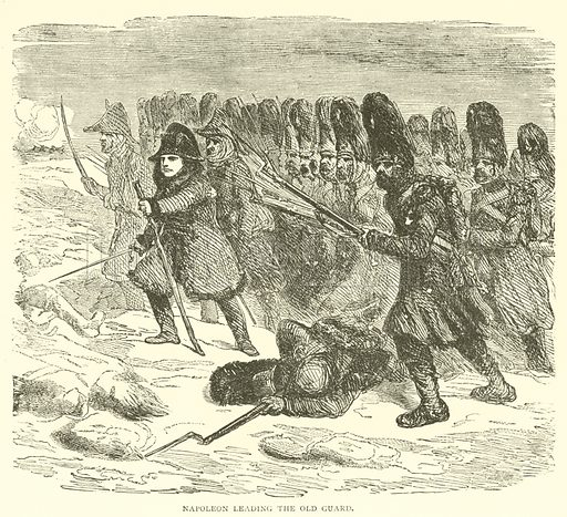 Napoleon leading the Old Guard. Illustration for The History of Napoleon Bonaparte by R H Horne (George Routledge, 1879).   Illustrations by Raffet and Horace Vernet.
