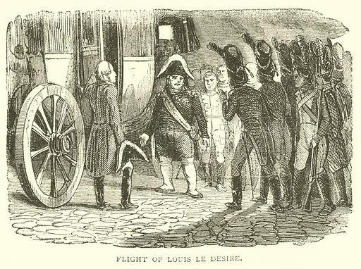 Flight of Louis le Desire. Illustration for The History of Napoleon Bonaparte by R H Horne (George Routledge, 1879).   Illustrations by Raffet and Horace Vernet.
