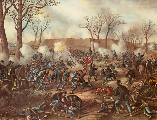 Battle of Fort Donelson.  Note: Kutz & Allison print.  Scan of later reproduction.