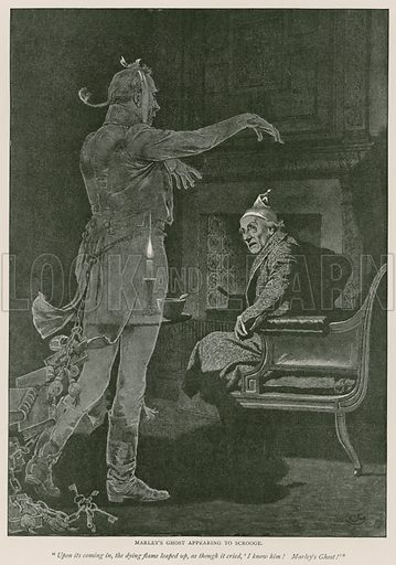 Marley's ghost appearing to Scrooge. Illustration for A Christmas Carol by Charles Dickens, in Pears' Xmas Annual 1892.