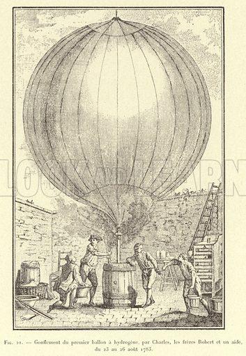Gonflement du premier ballon a hydrogene, par Charles, les freres Robert et un aide, du 23 au 26 aout 1783. Illustration for La Navigation Aerienne by J Lecornu (3rd edition, Vuibert & Nony, 1910).