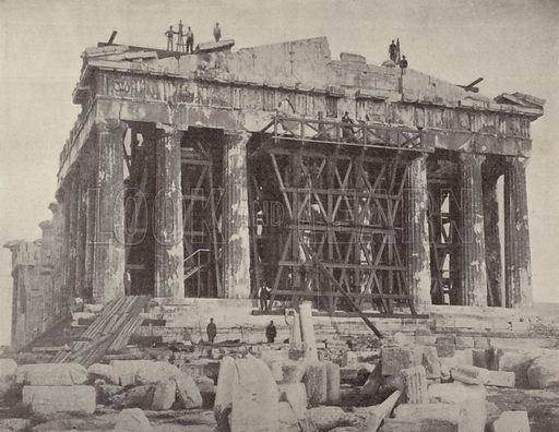 Works underway on the Parthenon, Athens in the 1890s