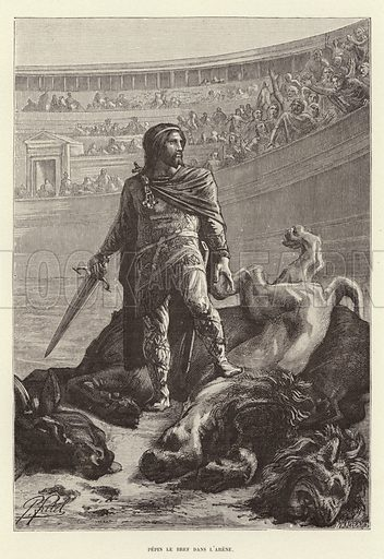 Pepin le Bref dans l'arene. Pepin the Short in the arena after killing a lion and a bull. Illustration for Histoire de France by Victor Duruy (Hachette, 1892).