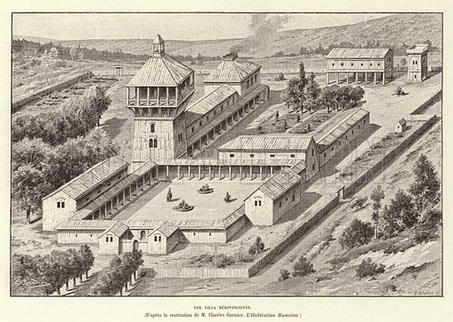Une Villa Merovingienne. Villa of the Merovingian Franks. Illustration for Histoire de France by Victor Duruy (Hachette, 1892).