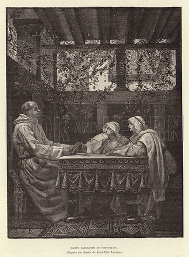 St Radegund and the poet Venentius Fortunatus, 6th Century. Illustration for Histoire de France by Victor Duruy (Hachette, 1892).