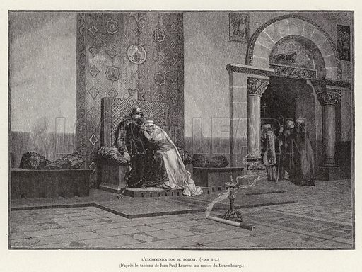 L'Excommunication de Robert. Excommunication of King Robert II of France by Pope Gregory V for marrying Bertha of Burgundy, his cousin, 998. Illustration for Histoire de France by Victor Duruy (Hachette, 1892).