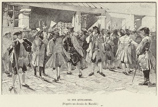 La rue Quincampoix. Anxious investors on the Rue Quincampoix, Paris, during the Mississippi Bubble, 1720. Illustration for Histoire de France by Victor Duruy (Hachette, 1892).