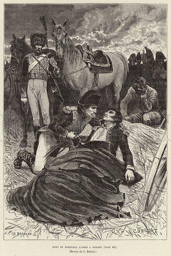 Mort du Marechal Lannes a Essling; Napoleon and the dying Marshal Lannes at the Battle of Aspern-Essling, Austria, 1809. Illustration for Histoire de France by Victor Duruy (Hachette, 1892).