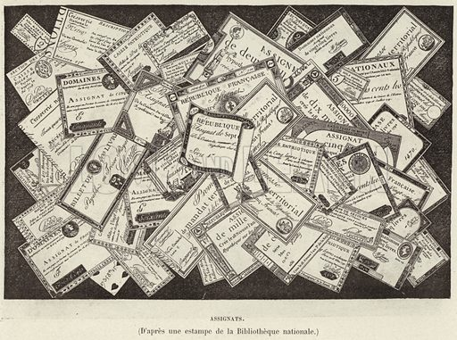 Assignats. Assignats, currency of the French Revolution. Illustration for Histoire de France by Victor Duruy (Hachette, 1892).