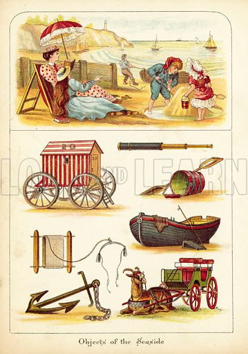 Seaside. Illustration for The Object Painting Book by H Lynn and Others (Frederick Warne, c 1880).