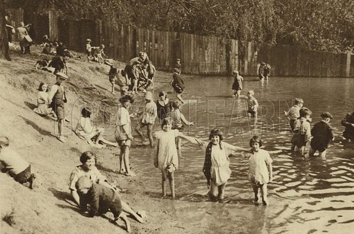 Children playing in one of Hampstead's many ponds. Illustration for Wonderful London by St John Adcock (Fleetway, c 1930). Gravure-printed.