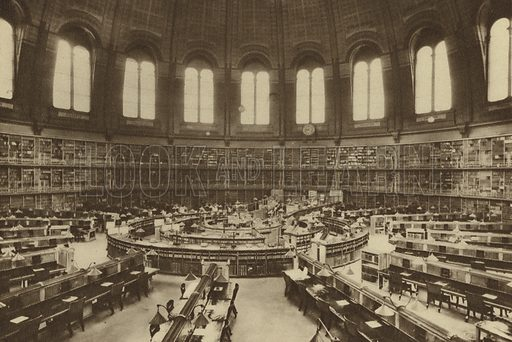 Reading room of the great library at the British Museum seen from over the entrance