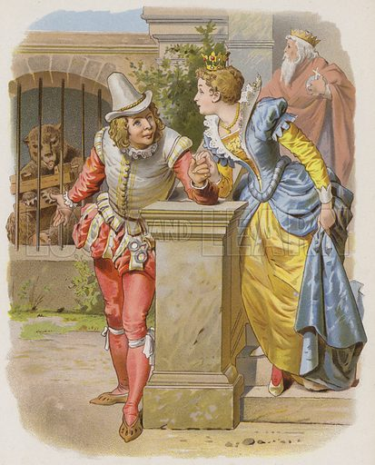 The Clever Little Tailor (Vom Klugen Schneiderlein). Illustration from a collection of the Brothers Grimm fairy tales.